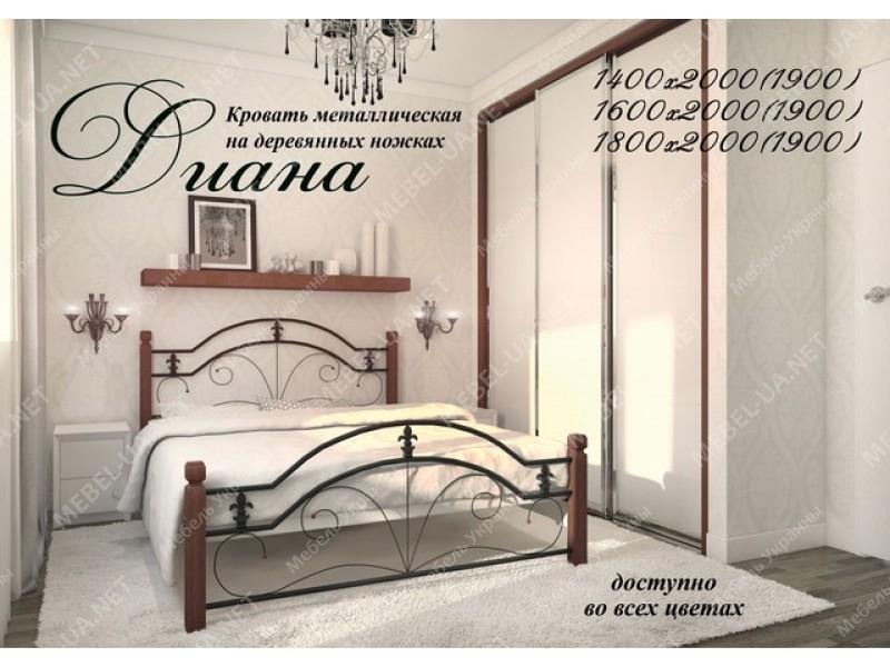 ДИАНА НА ДЕРЕВЯННЫХ НОЖКАХ - металлическая кровать ТМ МЕТАЛЛ-ДИЗАЙН фото